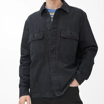 "ARKET(アーケット) シャツ ""ARKET MEN"" Linen Blend Utility Overshirt Black"