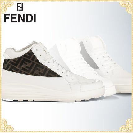 FENDI スニーカー ★関税込み★送料無料Leather high-top sneakers