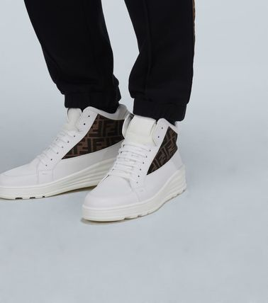 FENDI スニーカー ★関税込み★送料無料Leather high-top sneakers(4)