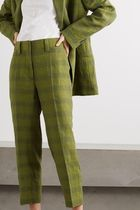 ACNE Checked linen-blend trousers チェックリネン混防パンツ