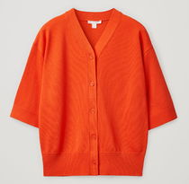 """COS"" KNITTED COTTON CARDIGAN ORANGE"
