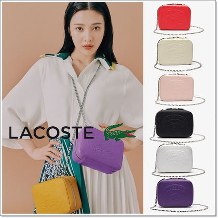 LACOSTE ショルダーバッグ・ポシェット LACOSTE Croco Crew Grained Leather Zip Shoulder Bag NF2970NL