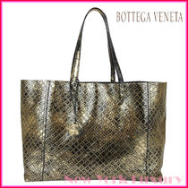 BOTTEGA VENETA★Intrecciomirage Gold/Black Tote Bag