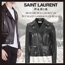 新作◆SAINT LAURENT◆MOTORCYCLE JACKET IN PLUNGED LAMBSKIN
