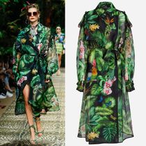 DG2315 LOOK113 JUNGLE FOREST PRINT SILK ORGANZA TRENCH COAT