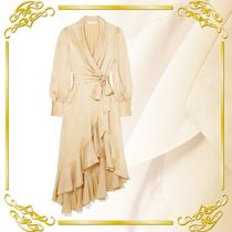 ★関税込み★ 送料無料★Super Eight ruffled silk wrap midi