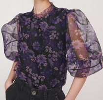 """""""RESERVED"""" FLORAL PRINT ORGANGY BLOUSE PURPLE"""