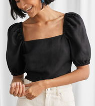 """& Other Stories"" Linen Blend Puff Sleeve Top Black"