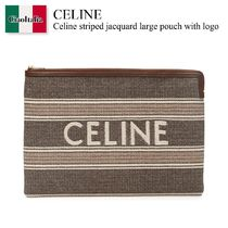 Celine striped jacquard large pouch with logo