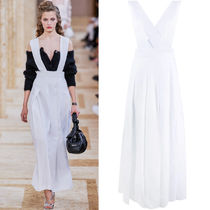 MM1159 LOOK50 PLEATED LINEN PINAFORE DRESS