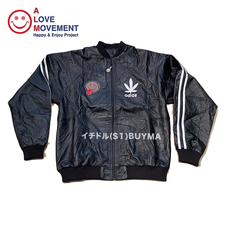 """A LOVE MOVEMENT ALM xTATA Recycled Leather Jacket """"Happy?"""" (A LOVE MOVEMENT/レザージャケット) 53129658"""