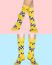 Happy Socks Yellow Checker Hi Socks ハイソックス イエロー