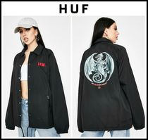NEW!! ☆ HUF ☆ BLACK HUF THE MAGIC DRAGON COACH JACKET