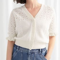 """& Other Stories(アンドアザーストーリーズ) カーディガン """"& Other Stories"""" Eyelet Knit Cardigan White"""