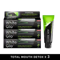 [White glo] Charcoal Total Mouth Detox Whitening 150g x 3