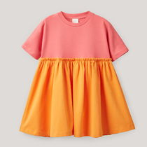 "COS(コス) キッズワンピース・オールインワン ""COS KIDS"" TWO-TONE CURTAIN DRESS PINK/ORANGE"