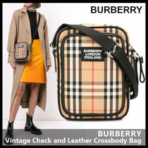 【BURBERRY】Vintage Check and Leather Crossbody Bag 8023381