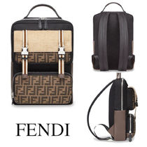 FENDI NYLON AND LEATHER BACKPACK WITH FF LOGO