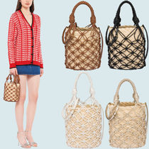 MM1183 STRAW AND MESH BUCKET BAG