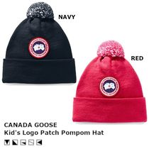 [完売必須] CANADA GOOSE Kid's Logo Patch Pompom Hat ニット帽