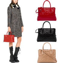 MM1196 SHINY QUILTED LEATHER TOTE BAG
