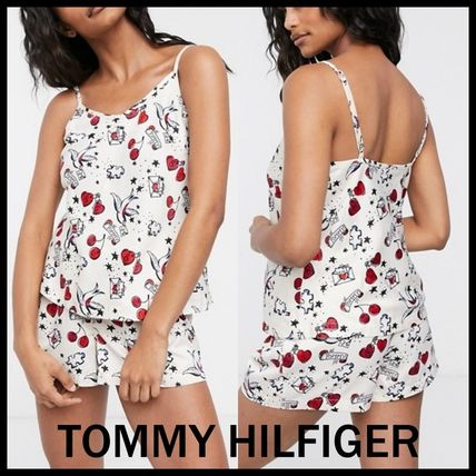 Tommy Hilfiger ルームウェア・パジャマ 【TOMMY HILFIGER】サテンハートプリント ショートセット 送料込