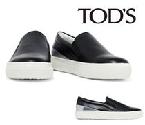 TOD'S☆Smooth and metallic leather slip-on sneakers