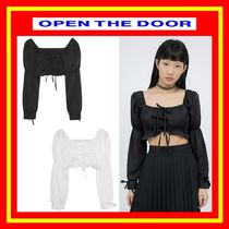 [OPEN THE DOOR]  puff ribbon crop blouse - woman/追跡付