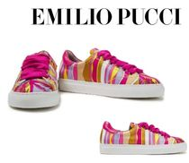 Emilio Pucci☆Leather-trimmed printed satin-twill sneakers