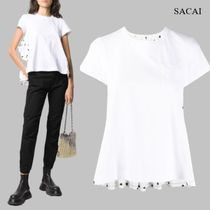 SACAI polka dot print flared T-shirt
