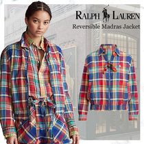new!Polo Ralph Lauren Reversible Madras Jacket-Blue/Red