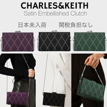 日本未入荷/送料込☆CHARLES&KEITH Satin Embellished Clutch