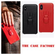 THE CASE FACTORY★IPHONE X/XS 3Dビートル柄 カーフレザー RED