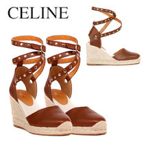 CELINE LEATHER WEDGE ESPADRILLES SANDALS