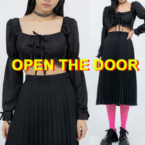 ☆OPEN THE DOOR☆ puff ribbon crop ブラウス (2色)