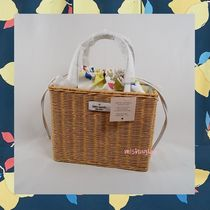【kate spade】レモン♪かごバッグ sam wicker medium satchel★