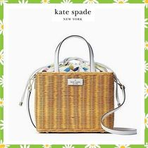 【kate spade】sam wicker medium satchel☆レモンかごバッグ☆