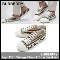 【BURBERRY】Logo Print Vintage Check Cotton Sneakers 8024149