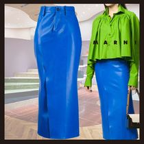 ◆SS20◆MARNI ◆front-slit leather midi-skirt