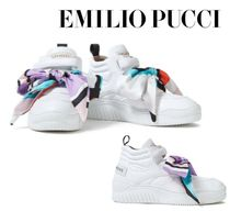 Emilio Pucci☆Bow-detailed quilted leather high-top sneakers