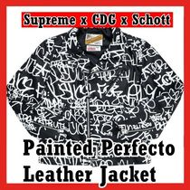 Supreme x CDG x Schott Painted Perfecto Leather Jacket Black