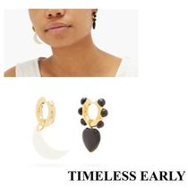 【TIMELESS PEARLY】ムーン&ハートゴールドプレートピアス