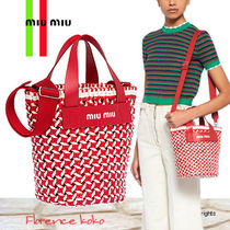 関税込み国内発送 MiuMiu woven Eco leather logo Bucket Bag