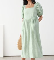 """""""& Other Stories"""" Square Neck Puff Sleeve Midi Dress Green"""