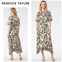 【REBECCA TAYLOR】●セール●GOLD LEAF FLEUR SILK DRESS