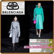19年AW RUNWAY【BALENCIAGA】 A-line faux-leather midi skirt