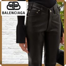 関税・送料無料【BALENCIAGA】V-waist leather trousers