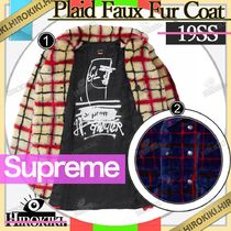 19SS /Supreme Jean Paul Double Breasted Plaid Faux Fur Coat