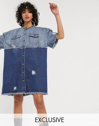 ASOS ワンピース 国内発★ASOS限定★One Above Another shirt ドレス