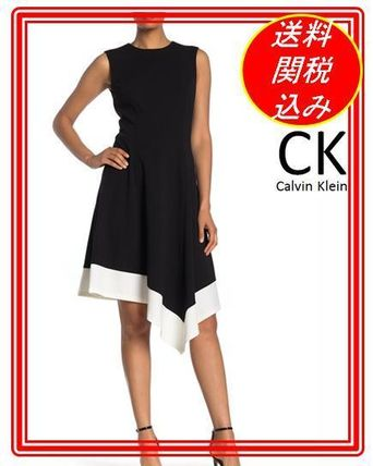 Calvin Klein ワンピース 関税送料込 Calvin Klein Colorblock Asymmetrical Hem Dress